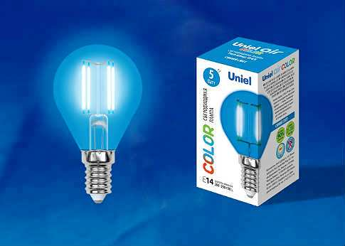 Лампа светодиодная Uniel LED-G45-5W/BLUE/E14 GLA02BL Air color шар