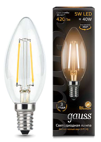Лампа GAUSS LED Filament Свеча E14 5W 2700К 103801105