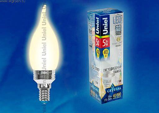 Светодиодная лампа Uniel LED-CW37P-5W/WW/E14/FR ALC02SL для хрустальных люстр