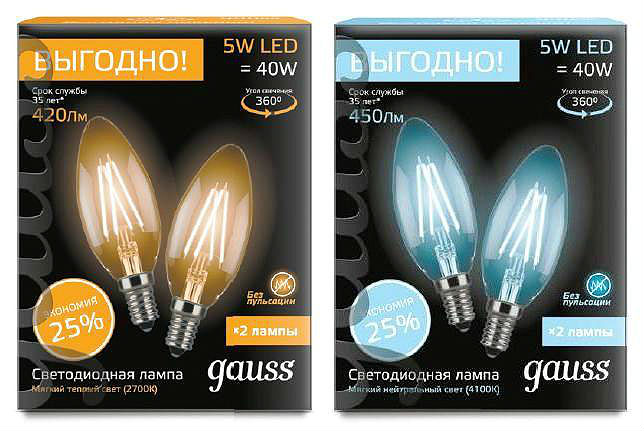Комплект лампы Gauss LED Filament Свеча E14 5W 2700К / 4100K 103801105P / 103801205P