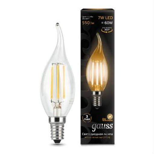 Лампа GAUSS LED Filament Свеча на ветру E14 7W 2700К 104801107